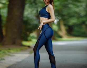 Blue Mesh Patchwork Leggings