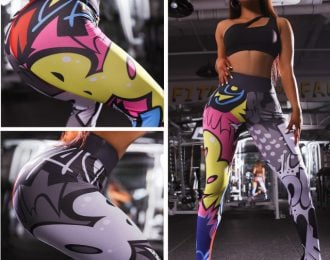Cartoon Print High Waist Leggings