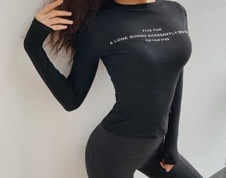 Alphabet Long Sleeve Sporty Shirt