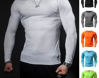 Solid Color Long Sleeve Compression Shirt