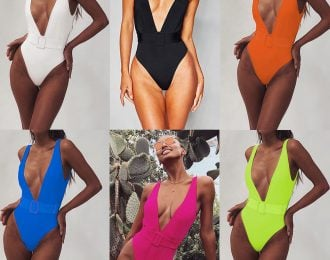 Plunge Sexy Belted high leg swimsuit