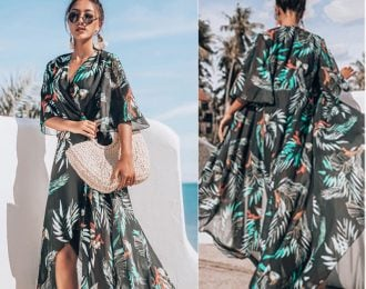 Printed Long Wrap Tied Cover Up
