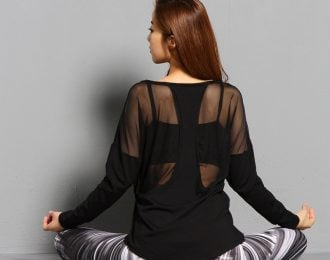 Black Yoga Long Sleeve Mesh Shirt