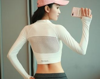 Long Sleeve Crop Top with Mesh Back