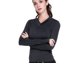 Long Sleeve V-Neck Running Shirt