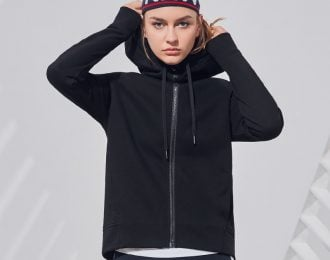 Black Hooded Yoga Jacket
