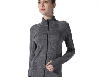 Mock Turtleneck Heather Jacket